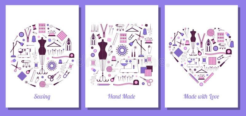Tarjetas de costura y de adaptación hechas a mano de la impresión ilustración del vector