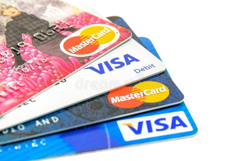Tarjetas de crédito bien escogidas foto de archivo libre de regalías