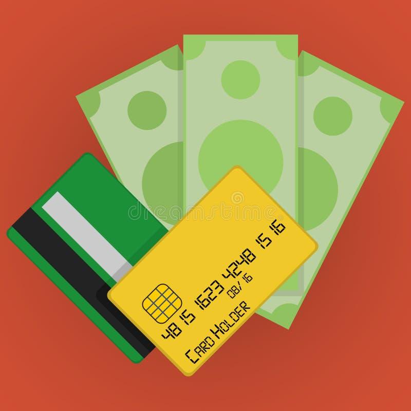 Tarjetas de crédito del vector e icono del dinero stock de ilustración