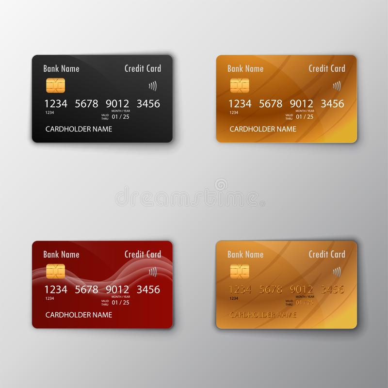 Tarjetas de crédito fijadas ilustración del vector