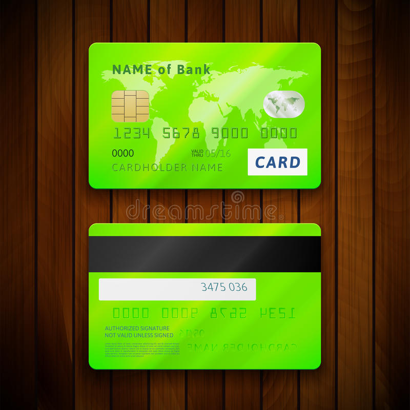 Tarjetas de crédito verdes brillantes detalladas con dos lados libre illustration