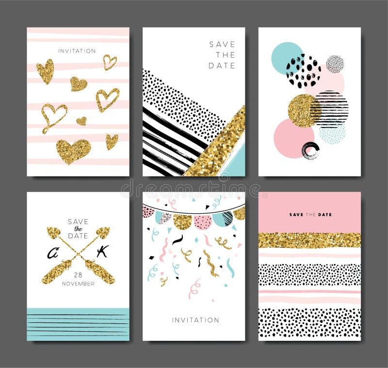 Tarjetas de felicitación stock de ilustración