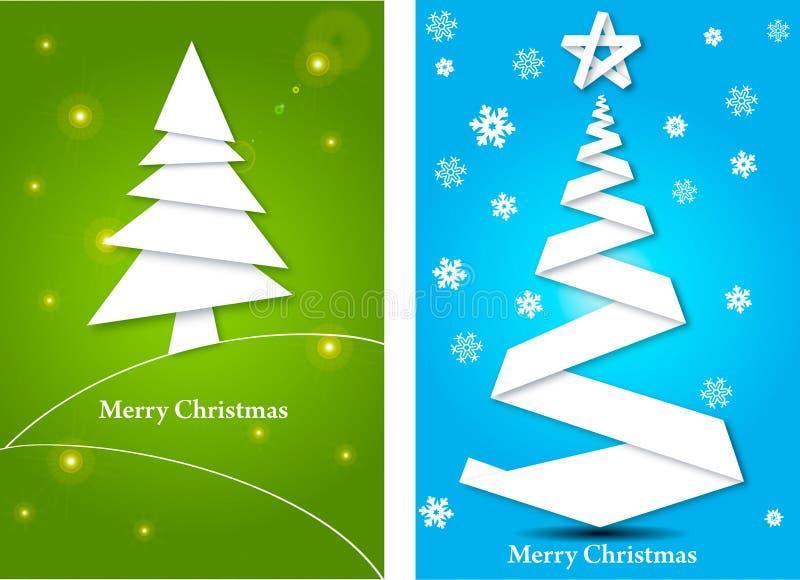 Tarjetas de felicitación con el árbol de navidad stock de ilustración