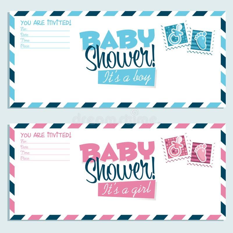 Tarjetas de felicitación de la invitación de la ducha de bebé libre illustration