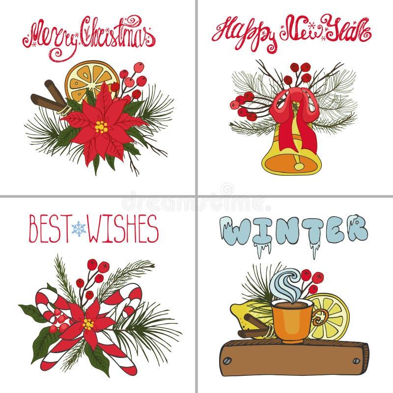 Tarjetas de felicitación de la Navidad fijadas Doodles del Año Nuevo ilustración del vector