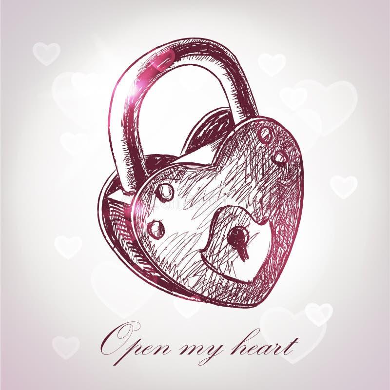 Tarjetas de felicitación del día de tarjeta del día de San Valentín con el candado fotografía de archivo