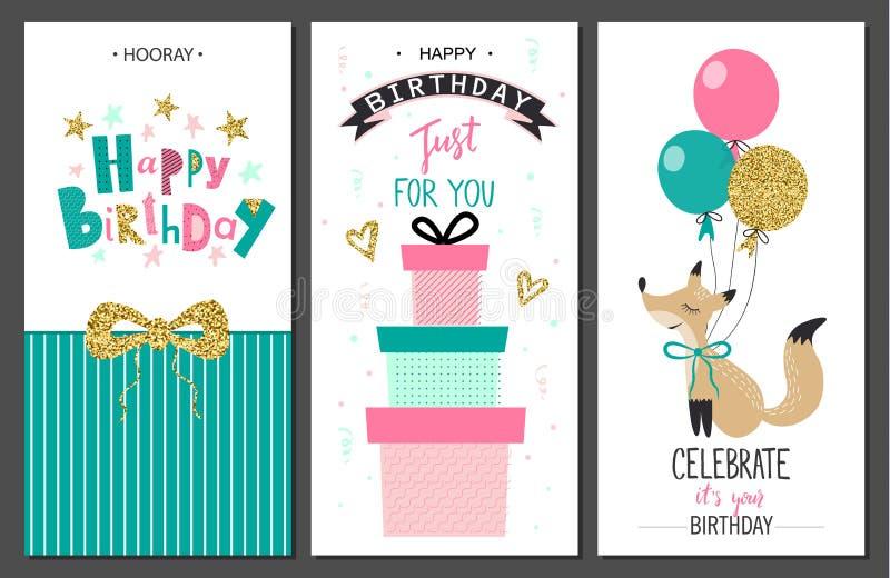 Tarjetas de felicitación del feliz cumpleaños y plantillas de la invitación del partido Ilustración del vector ilustración del vector