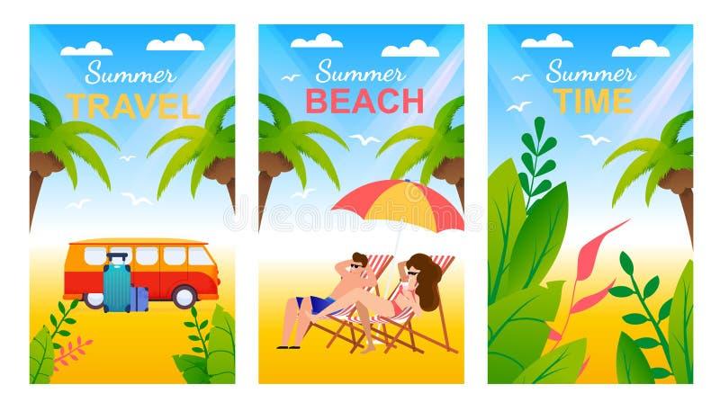 Tarjetas de felicitación del verano fijadas con la playa tropical ilustración del vector