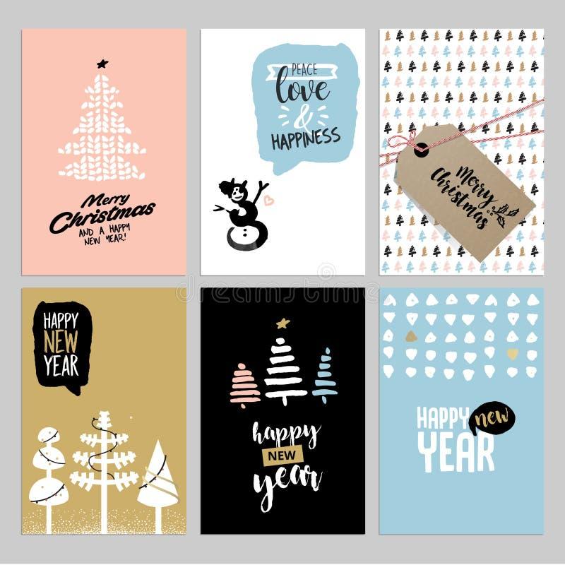 Tarjetas de felicitación del vintage de la Navidad y del Año Nuevo fijadas stock de ilustración