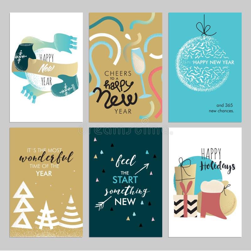 Tarjetas de felicitación del vintage de la Navidad y del Año Nuevo fijadas ilustración del vector