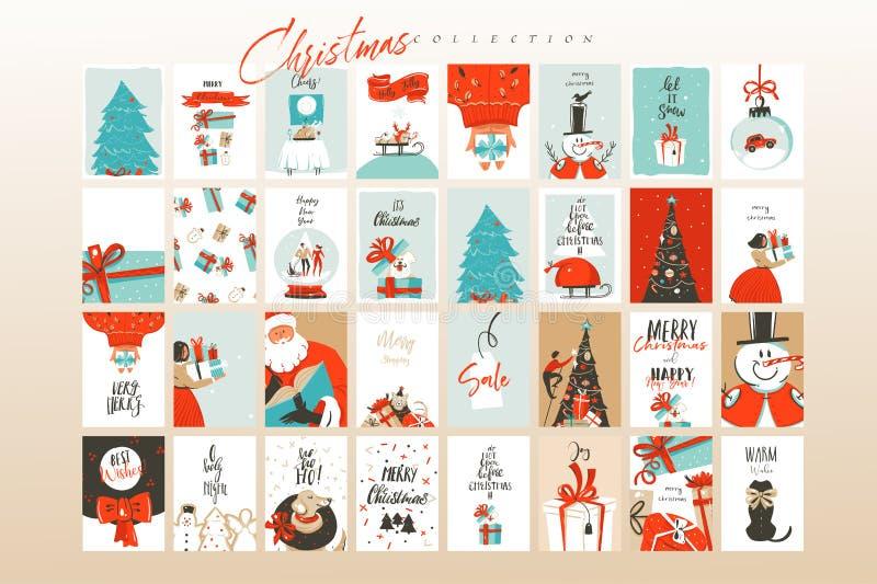 Tarjetas de felicitación exhaustas de los ejemplos de la historieta del tiempo de la Feliz Navidad de la diversión del extracto d stock de ilustración