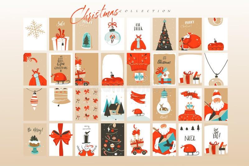 Tarjetas de felicitación exhaustas de los ejemplos de la historieta del tiempo de la Feliz Navidad de la diversión del extracto d ilustración del vector