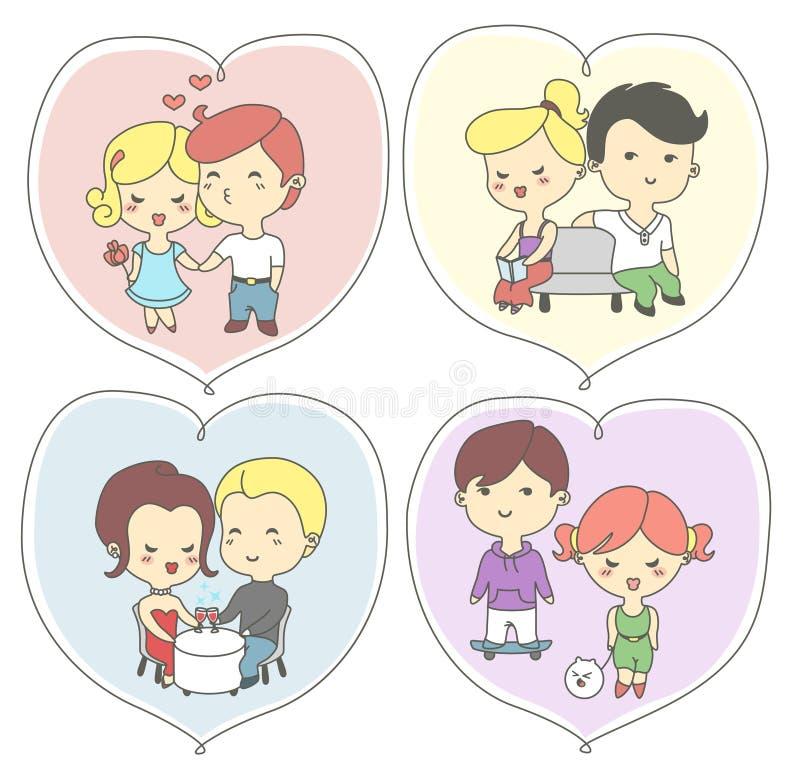 Tarjetas de felicitación felices del día de los valentine's con los pares felices ilustración del vector