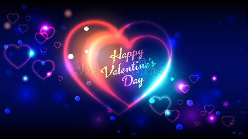 Tarjetas de felicitación felices del vector de día de San Valentín, fondo azul del bokeh de la forma de neón multicolora brillant ilustración del vector