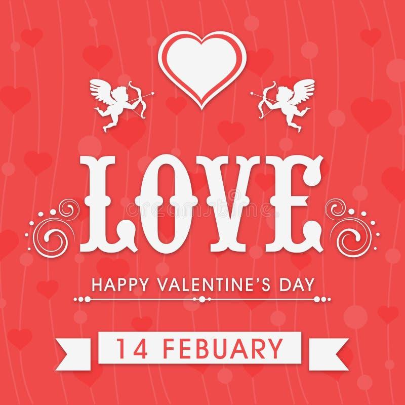 Tarjetas de felicitación hermosas para la celebración feliz del día de tarjeta del día de San Valentín libre illustration