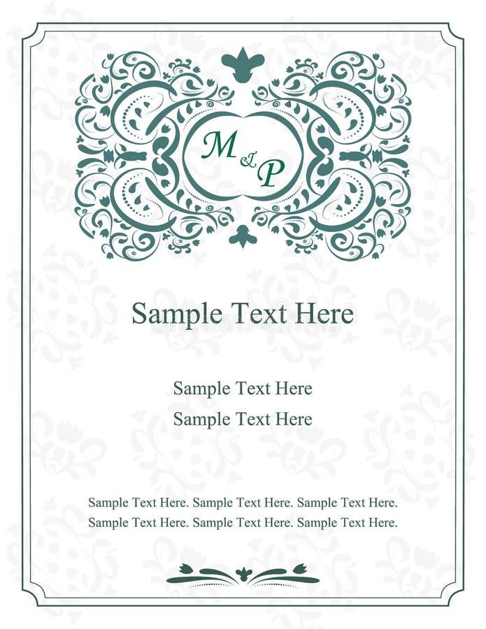 Tarjetas de felicitación Invitación con los ornamentos del victorian, postales hermosas, de lujo libre illustration