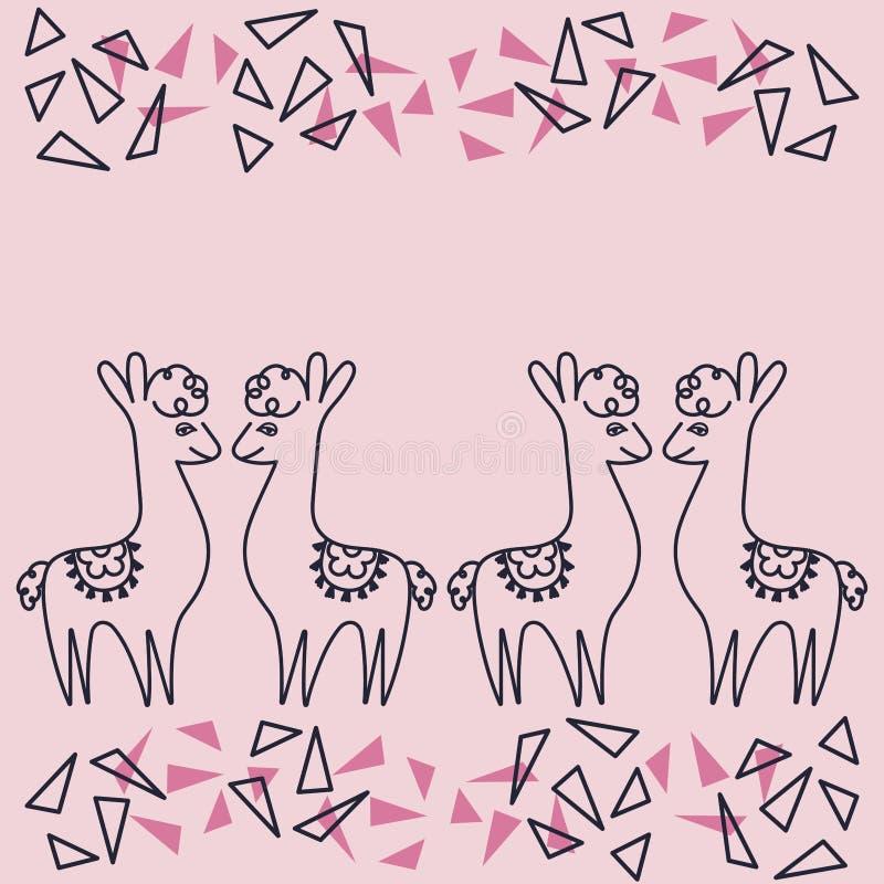 Tarjetas de felicitación, invitaciones, carteles, espacio para el texto Alpaca o llamas en el fondo rosado, dibujo de la mano Con ilustración del vector