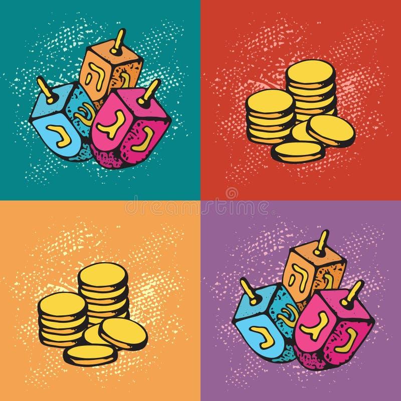 Tarjetas de felicitación judías de Jánuca del día de fiesta Sistema de los símbolos tradicionales de Hanukkah - dreidels y moneda stock de ilustración
