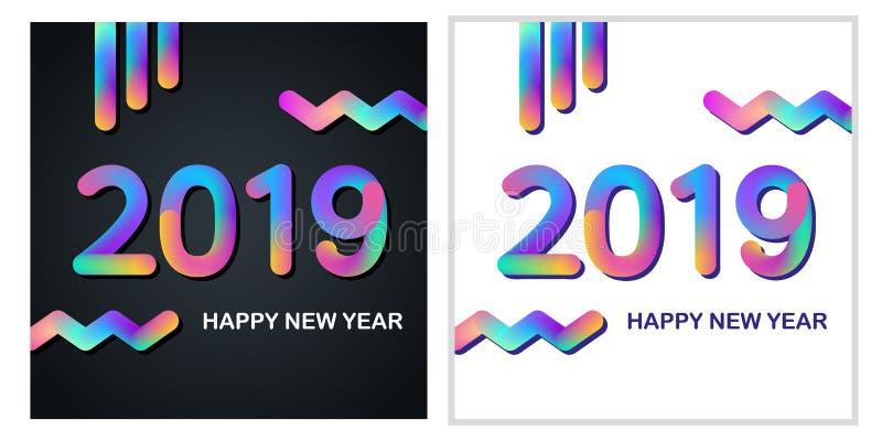 2019 tarjetas de felicitación de la Feliz Año Nuevo fijadas con diseño coloreado multi del texto que brilla intensamente libre illustration