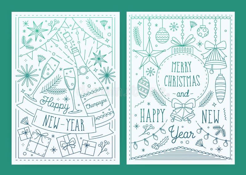 Tarjetas de felicitación de la Navidad dos y del Año Nuevo con las decoraciones festivas tradicionales dibujadas en estilo linear libre illustration