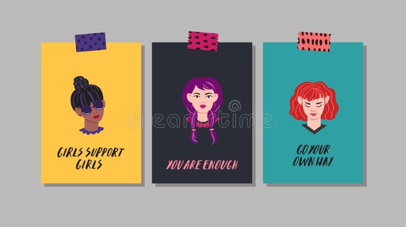 Tarjetas de felicitación de las mujeres jovenes Vector ingenuo del estilo Parte seis ilustración del vector