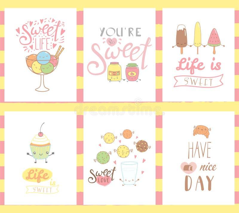 Tarjetas de felicitación de los dulces ilustración del vector