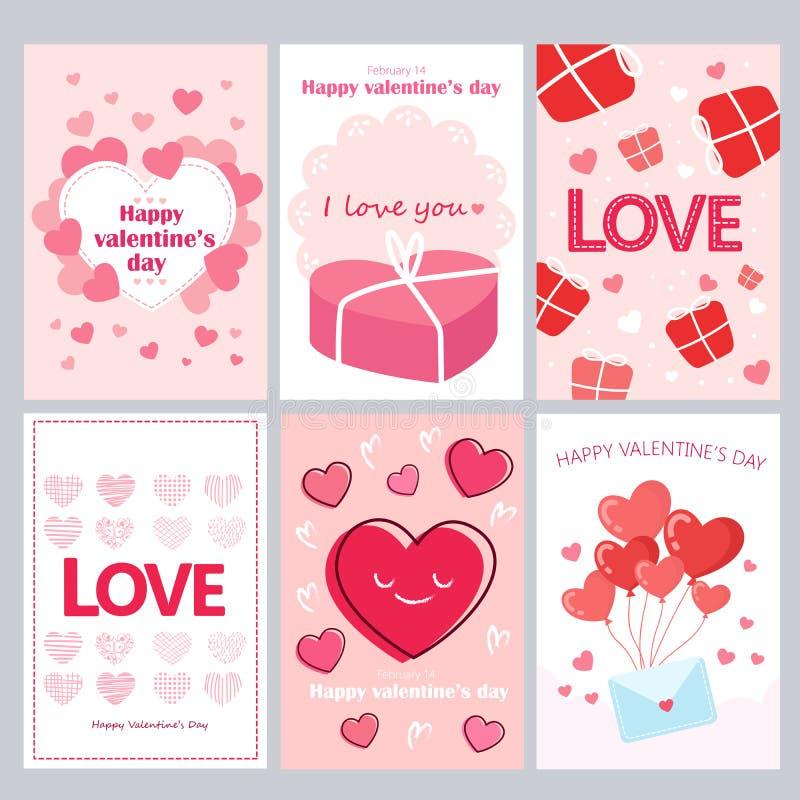 Tarjetas de felicitación para Valentine Day ilustración del vector