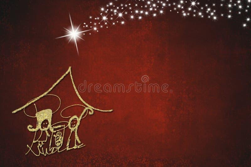 Tarjetas de felicitaciones abstractas de la escena de la natividad de la Navidad stock de ilustración