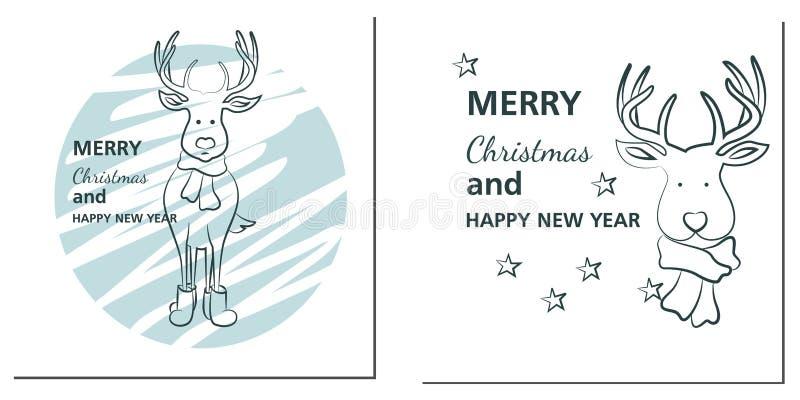 Tarjetas de felicitaciones de la Navidad y del Año Nuevo con los ciervos libre illustration