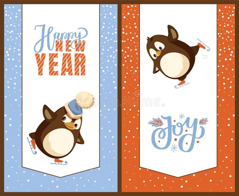 Tarjetas de Greetig de la Feliz Año Nuevo, pingüinos en patines stock de ilustración