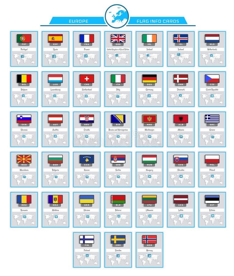 Tarjetas de información de Europa stock de ilustración