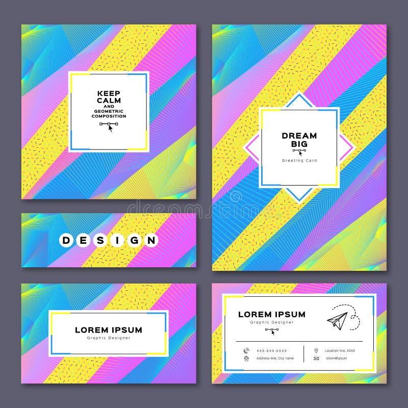 Tarjetas de la colección: invitación, A4 cartel, tarjeta de visita, aviador Fondo geométrico stock de ilustración