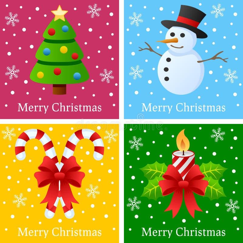 Tarjetas de la Feliz Navidad stock de ilustración