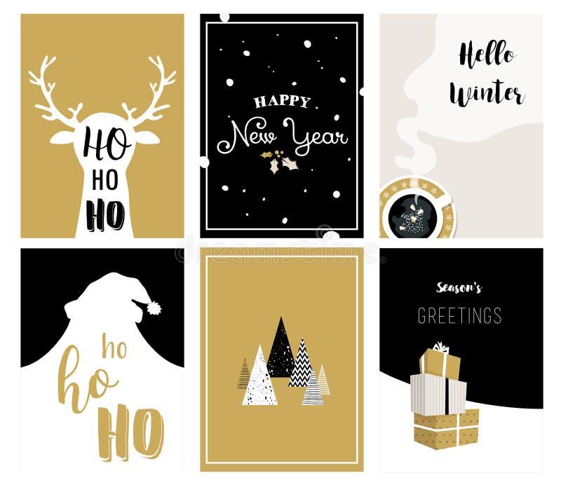 Tarjetas de la Feliz Navidad, ejemplos e iconos, colección del diseño de letras libre illustration
