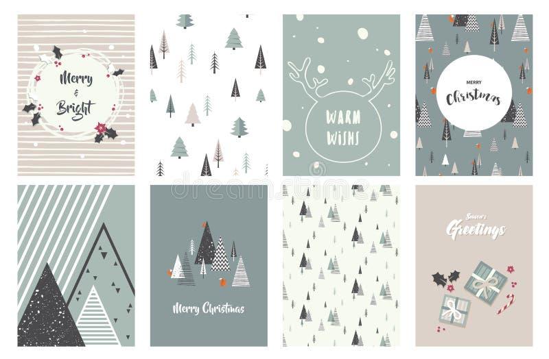 Tarjetas de la Feliz Navidad, ejemplos e iconos, colección del diseño de letras - ningún 1 libre illustration