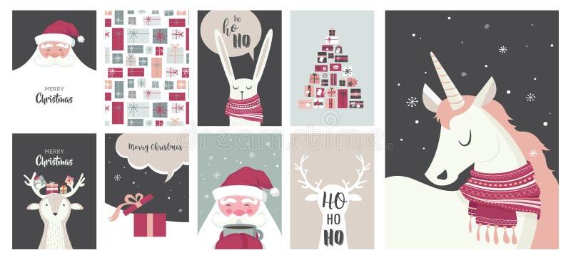 Tarjetas de la Feliz Navidad, ejemplos e iconos, colección del diseño de letras - ningunos 4 libre illustration