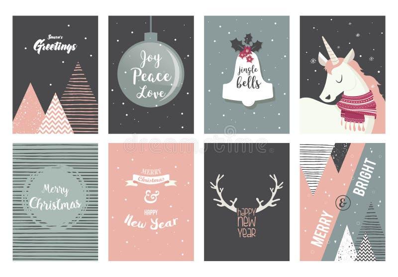 Tarjetas de la Feliz Navidad, ejemplos e iconos, colección ningunos del diseño de letras 2 libre illustration