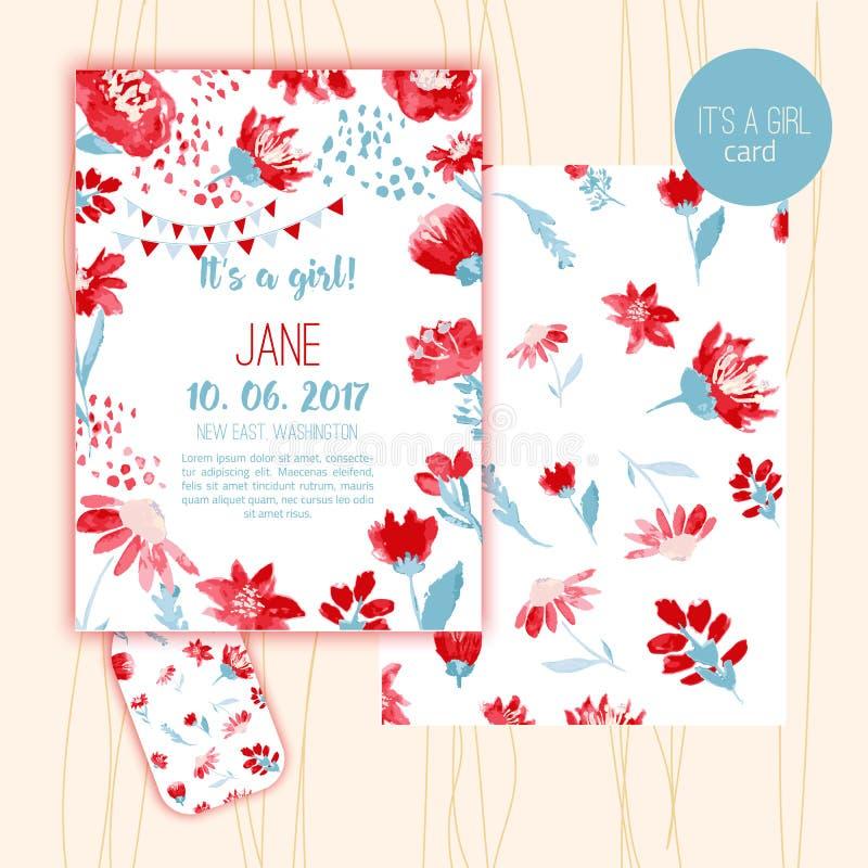 Tarjetas de la fiesta de bienvenida al bebé con el estilo de la acuarela floral Ilustración del vector stock de ilustración