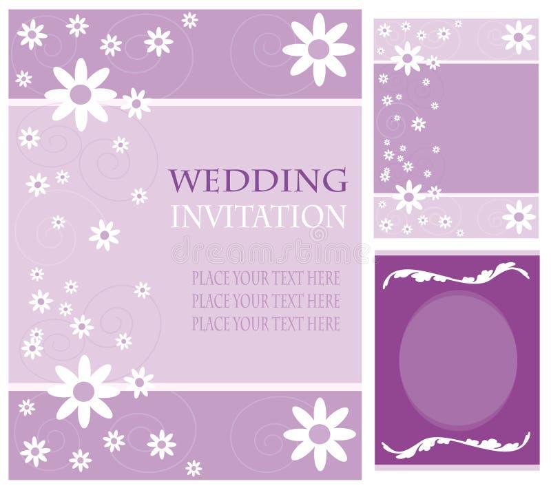 Tarjetas de la invitación de la boda stock de ilustración