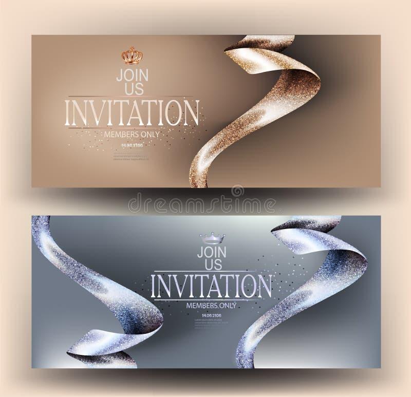 Tarjetas de la invitación del VIP con las cintas hermosas stock de ilustración