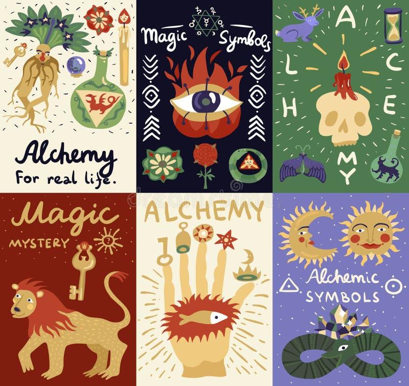 Tarjetas de la magia de la alquimia stock de ilustración