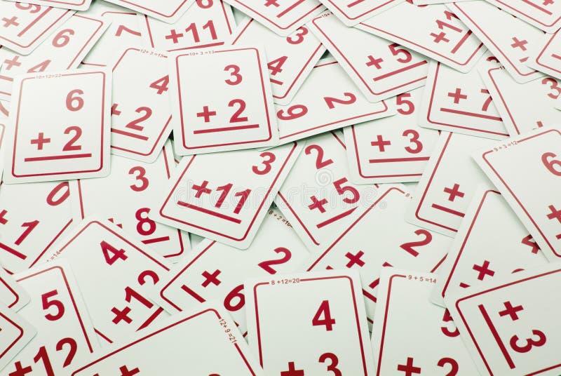 Tarjetas de la matemáticas de la adición (rojas) imagen de archivo