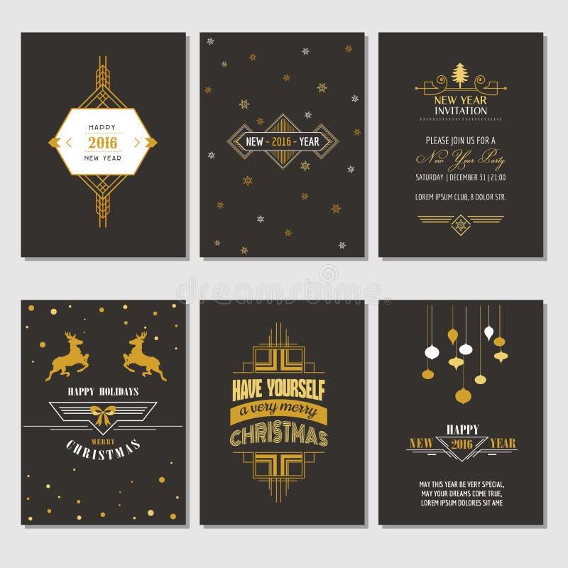 Tarjetas de la Navidad y del Año Nuevo stock de ilustración