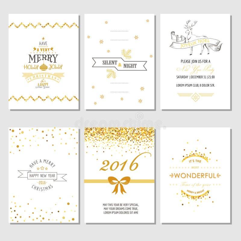 Tarjetas de la Navidad y del Año Nuevo ilustración del vector