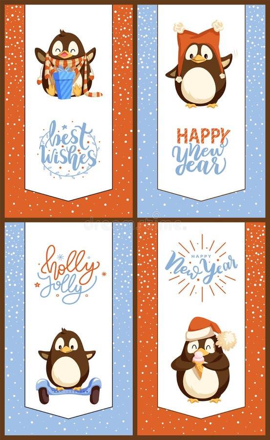 Tarjetas de la Navidad y del Año Nuevo con los pingüinos divertidos stock de ilustración