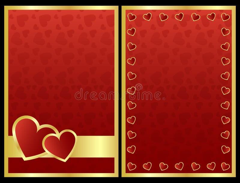 Tarjetas de la tarjeta del día de San Valentín stock de ilustración
