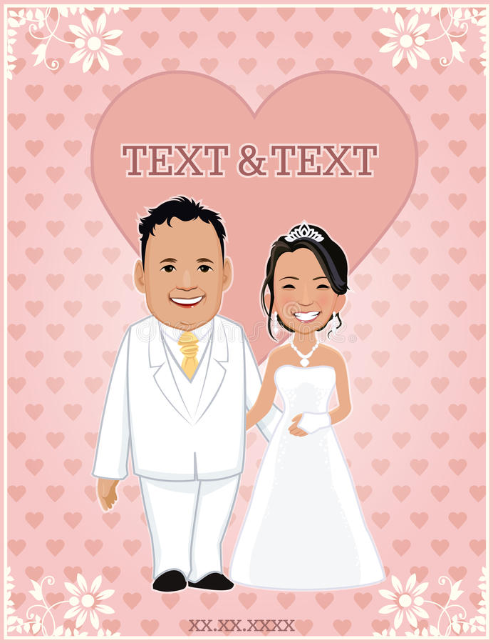 Tarjetas de las invitaciones para casarse plantillas diseño de carácter - ejemplo del vector imagen de archivo libre de regalías