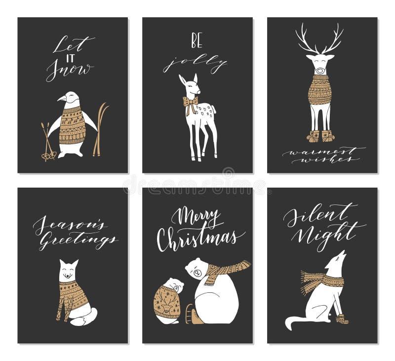 Tarjetas de los animales de la Navidad libre illustration
