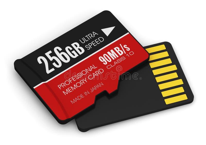 Tarjetas de memoria Flash de alta velocidad de 256GB MicroSD stock de ilustración