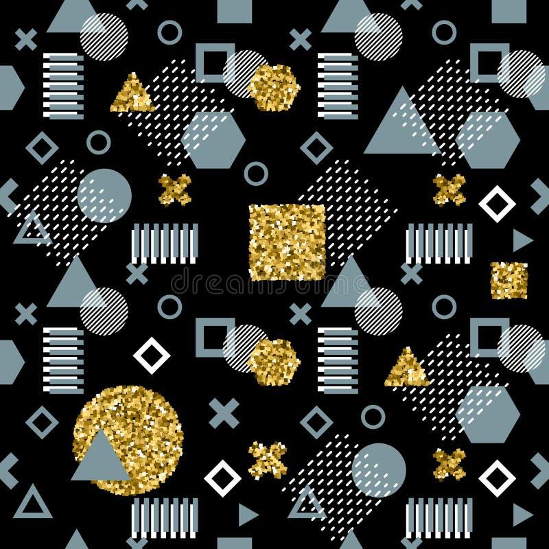 Tarjetas de moda de Memphis Modelo inconsútil abstracto Textura retra del estilo, modelo y elementos geométricos Extracto moderno libre illustration